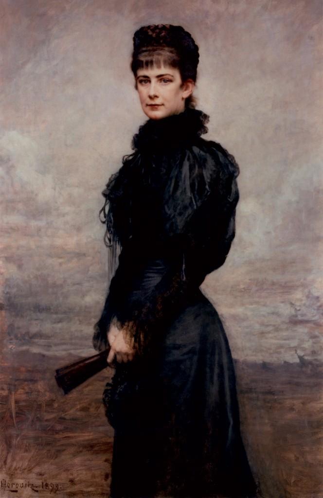 Horowitz_portret_van_Keizerin_Elisabeth_met_zwarte_japon_met_waaier_1899
