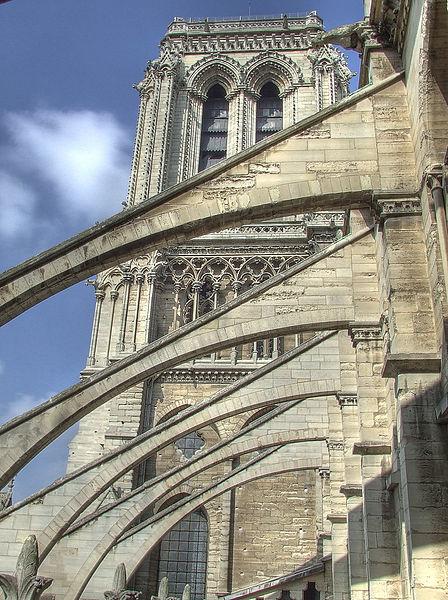 Les arcs-boutants de la nef de Notre-Dame de Paris